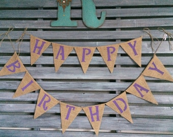 Happy Birthday Burlap Banner, Happy Birthday Banner, Happy Birthday Sign, Happy Birthday Decor, Birthday Burlap Banner, Happy Birthday