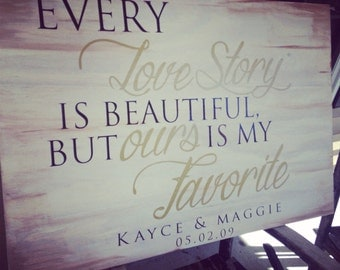 Every Love Story is Beautiful but Ours is my Favorite Custom Wood Wall Hanging with Anniversary Date Names-Vinyl