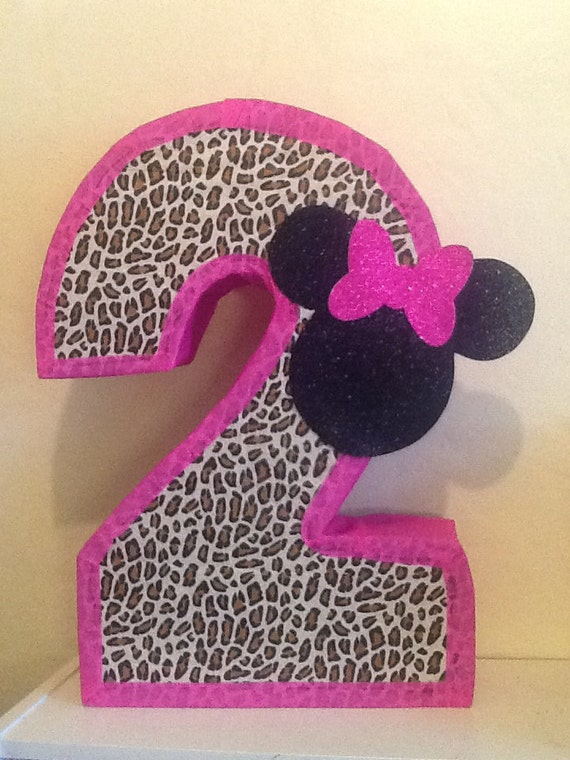 Minnie mouse piñata. Piñata de leopardo. Animal por aldimyshop