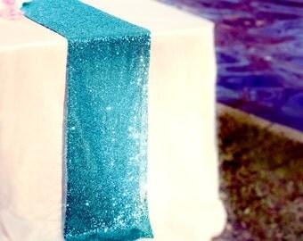 Ocean Blue Sequin Table Runner Sparkly Aqua Blue Sequin Runner For Frozen  Party Wedding Party Event