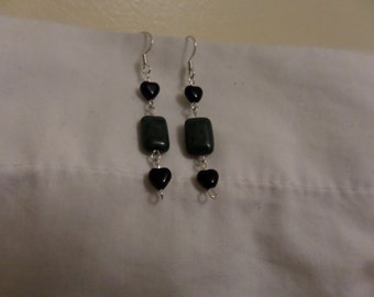 Jade and Black Heart Earrings