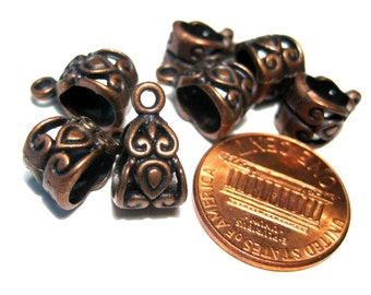 Antique Copper Pattern Carved Bails 13.5x7.5mm Jewelry Supplies