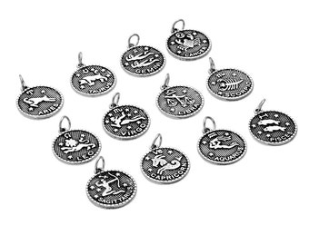 1pc Antique Silver Zodiac Constellation Pattern Charm Pendants 2-Side 23x 20mm Choose your style