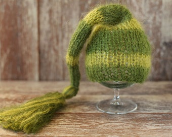 Newborn Elf Hat, Knitted Mohair Baby Girl Boy Hat,Stripe Green, Munchkin hat, Knit baby hat, Photo prop, Photography,Beanie