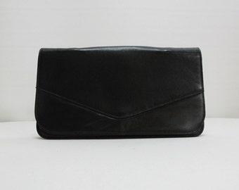 black evening bag envelope clutch real leather purse clutch