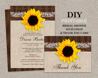 Rustic Country Sunflower Bridal Shower Invitations With Matching Thank You Cards, DIY Printable Wedding Shower Invites With Sunflowers