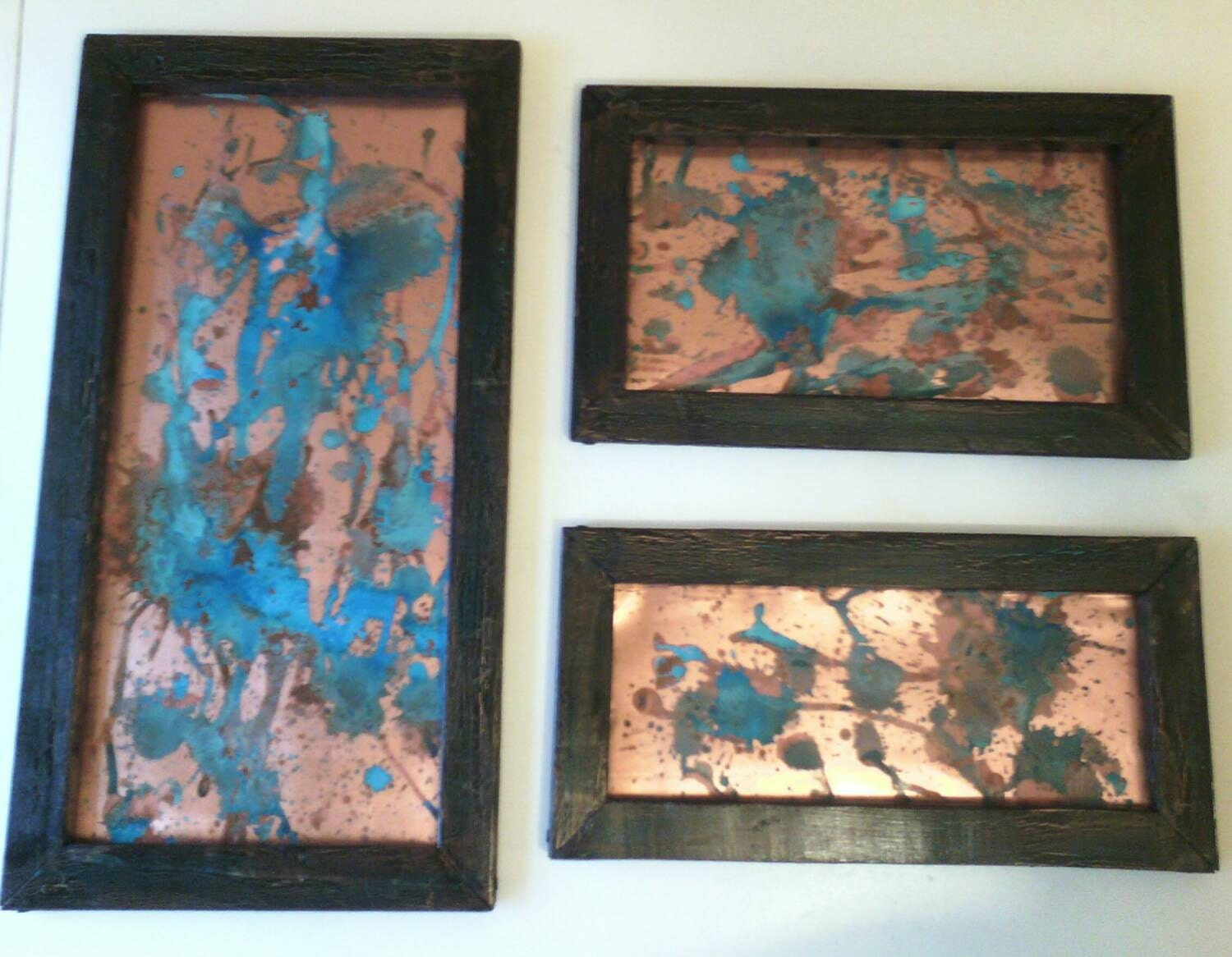 Copper wall art blue patina splatter 3 piece set black for Copper wall art