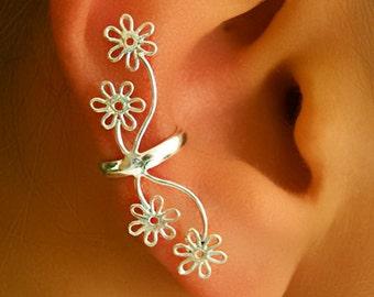 Silver Ear Cuff - Ear Wrap - Fake Ear Cuff - Earcuff Jewelry - Cuff Earrings - Wrap Earrings - Cartilage Earring - Non Pierced Ear Cuff