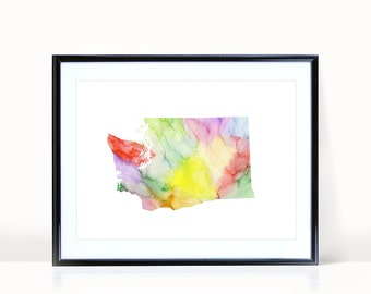 Washington State Wall Art, Watercolor Print INSTANT DOWNLOAD