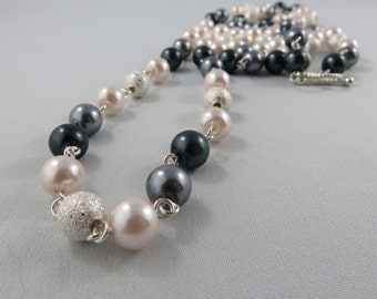 Long Grey Pearl Necklace accented with Silver Stardust metal beads. Long Necklace.  JemstoneZ necklace.