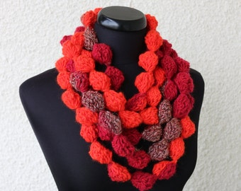 Crochet Scarf Lariat - Crochet Necklace - Multicolor Orange Scarf - Fashion Crochet Gift For Her - Unique Scarf - Women's Gift - Handmade