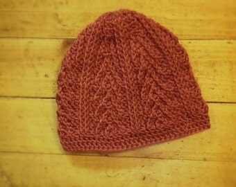 Handmade cranberry colored chevron/arrow patterned crochet hat (sized for child) - TO BE NAMED