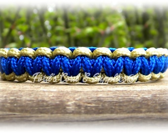 Paracord Bracelet, Type 1 Paracord Bracelet, Blue, Tan for a 5 1/2 inch or 5 3/4 inch Wrist Measurement, Ready to Ship