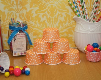 Cupcake Baking Cups ORANGE POLKA DOTS Candy or Nut Cups, Ice Cream Dessert Cup, Party Favor Cup, Party Food Treat Cup, Grease Proof