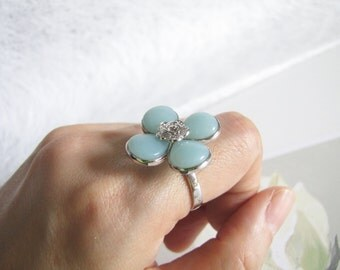 Grand Amazonite Ring, Sterling Silver Ring, Floral Ring, Gemstone Ring, Adjustable Ring Size, Everyday Jewelry