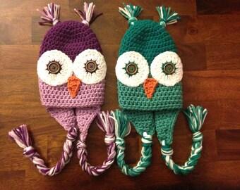 Newborn-Adult Crochet Owl Hat w/ earflaps