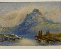 Original antique painting watercolour Crisp Lake Lucerne Switzerland 1877 framed