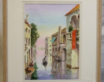 Robert Gerhardt  original framed  watercolour painting Venice canal English artist art  Freight cost extra etsy global gift