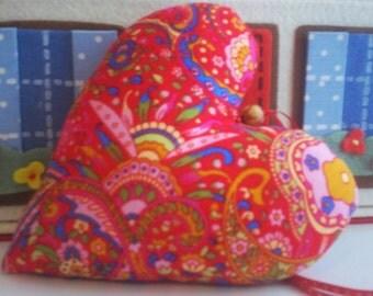 heart,hanging heart,fabric heart, valentine, home decor,multi
