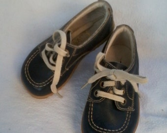 vintage children's shoes navy blue leather size 20