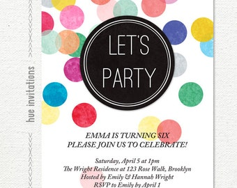 rainbow confetti birthday party invitation, girls birthday party invite, modern kids printable party invitation, digital file 5x7 634