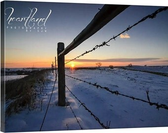 Sunrise Photography, Canvas Wrap, Winter Landscape, Snowy Picture, Iowa Art, Barbed Wire Fence, Fine Art Canvas, 8x10 11x14 16x24, Midwest