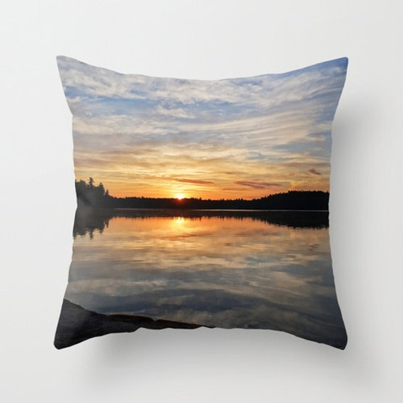 Pillow Cover, Sunrise Photography, Boundary Waters, Colorful Sky, Cloudy Reflection, Nature Photo, Throw Pillow, Indoor or Outdoor, Lake