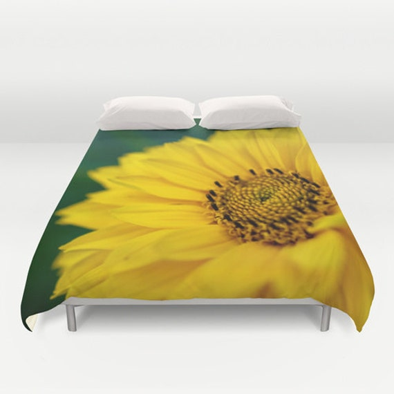 Duvet Cover, Yellow Daisy, Bright Color, Teen Bedding, Girls Room, Macro Photography, Flower Home Decor, Interior Design, Nature Images