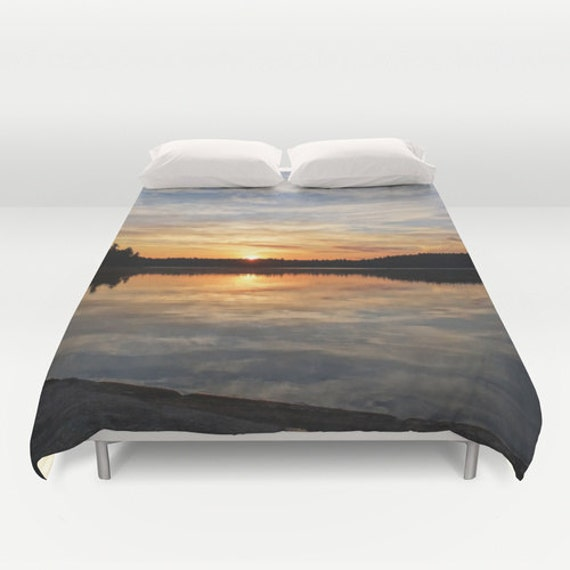 Duvet Cover, Colorful Sunrise, Boundary Waters, Nature Landscape, Bedroom Decor, Full Size, Queen Duvet, King Bedding, Lake Photography