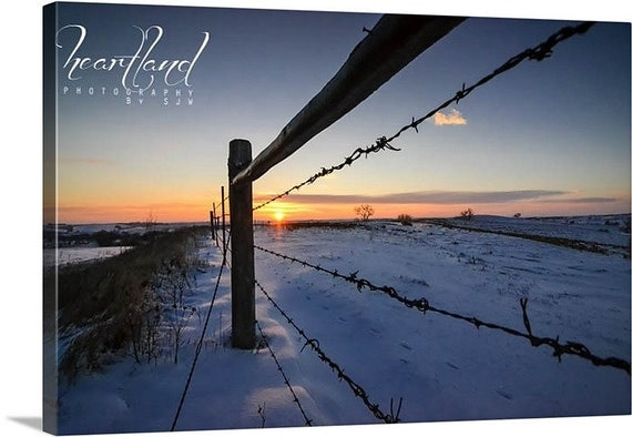 Sunrise Photography, Canvas Wrap, Winter Landscape, Snowy Picture, Iowa Art, Barbed Wire Fence, Fine Art Canvas, 8x10 11x14 16x24, Midwest