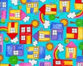 100% Cotton Fat Quarter Blankquilting Color Me Happy Houses & Rainbows