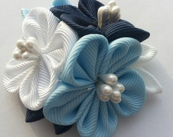 Kanzashi Flower  Hair clip and brooch. 2in1.White,dark and light blue.