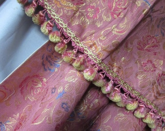 SALE! Vintage Drapes & Valances in Savannah Rose Brocade with Rose and Gold Tassels