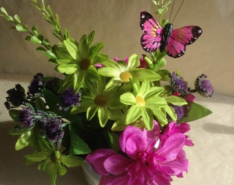 Silk Floral, Mother's Day Gift, Mother's Day Flowers, Butterfly, Dahlias, Daisies, Pink and Green, Faux Flowers