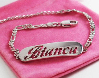 """Name Bracelet BIANCA - White Gold Plated 18K Personalised Bracelet. 10"""" Figaro Chain with Gift Box and Gift Bag."""