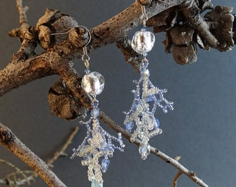 Beaded Earrings With Handmade Beads//Blue//White//Silver//Free Shipping