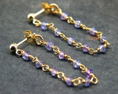 Tanzanite and Gold Filled Handmade Gemstone Chain Small Stud Earrings w/ Front to Back Chain Drop - Wire Wrapped Modern Chain Hoop Earrings
