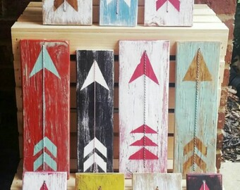 Reclaimed Wood Arrow Art with Twine or Leather Accent