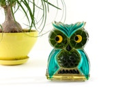 Owl Napkin or Letter Holder by New Designs Inc., Handmade from Glass-Like Resin, 1969