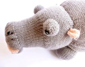 Knitted hippo - Stuffed hippo - Hippo plush - Stuffed toy - Nursery decoration