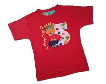 Boy's Birthday Shirt with Cupcakes in Primary Color Dots with Name and Number