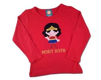 Girl's Superhero Shirt with Embroidered Name