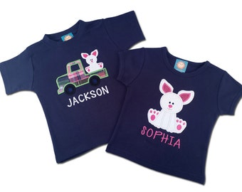 Brother Sister Sibling Easter Bunny Shirts with Embroidered Name