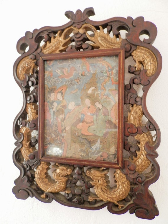Antique Chinese Dragon Picture Frame By Angelfrenchantiques