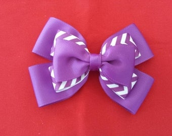 purple chevron hairbow on an aligator  clip