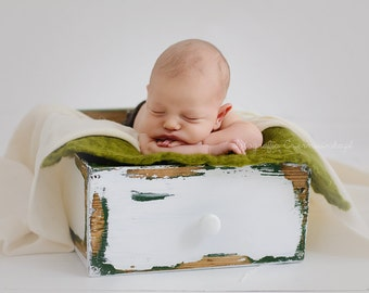 Double sided vintage newborn drawer, newborn photo prop, vintage crate, rustic prop, newborn props, distressed crate, photography props