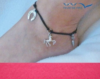 Horse themed cord anklet.