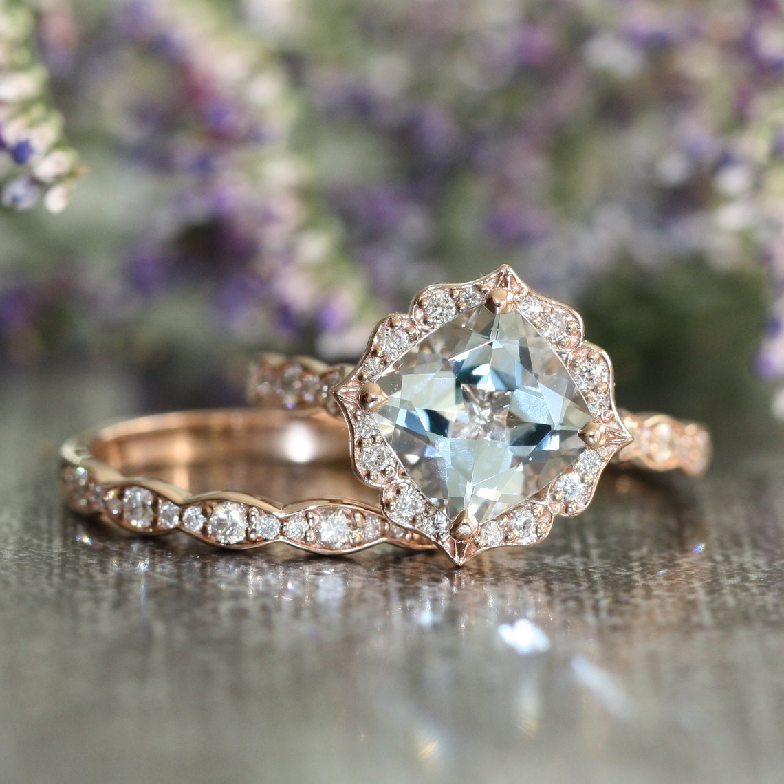 vintage floral aquamarine engagement ring and by lamoredesign. Black Bedroom Furniture Sets. Home Design Ideas