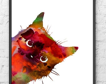 Colorful Watercolor Cat Art Print, Animal Wall Decor, Animal Painting, Cat Art - 493