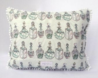 Perfume Bottle Print Cushion Cover • Pom Pom or Piped Trim